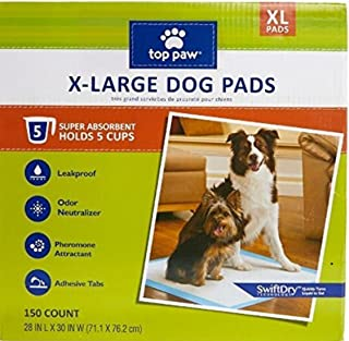 Top Paw Dog Extra Large Pads for Puppy Training, Indoor Dogs or Apartment Living, or Dogs with Incontinence, 50 Count