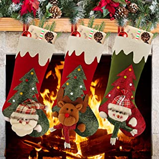 Aitey Christmas Stockings, 18 inches Large Family Christmas Stockings Set of 3 Character Santa, Snowman, Reindeer 3D Plush with Faux Fur Cuff Xmas Decorations for Kids
