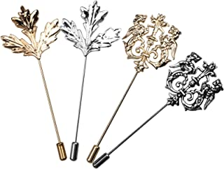 COSMOS Pack of 4 Men Metal Brooch Pin Maple Leaf Lapel Stick Pin Badge for Suit Dress