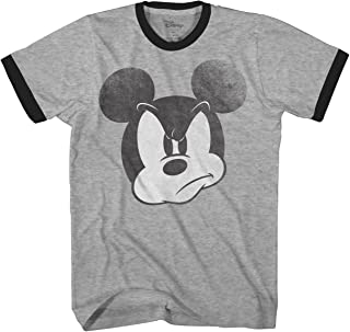 Mad Mickey Mouse Ringer Graphic Classic Vintage Disneyland World Men's Adult T-Shirt