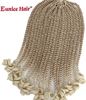Eunice 6 Packs 12 Inch Crochet Hair Braids Ombre Blonde Short Havana Mambo Twist Crochet Braiding Hair Senegalese Twists Hairstyles For Black Women 20 Strands/Pack (T27/613)