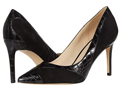 Nine West Elysa (Black Suede/Embossed Croco) High Heels