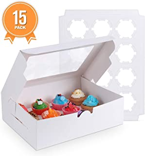 [15-Packs] White Cupcake Boxes 12 Holders Standard Cupcakes, Cupcake Containers Carrie Holders for Cookies, Muffins and Pastries13.8 x 9.5 x 4inch with Inserts and PVC Windows