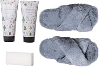 Live Green Bath and Body Gift Set- Foot Spa Set with Slippers, Scrub, and Lotion