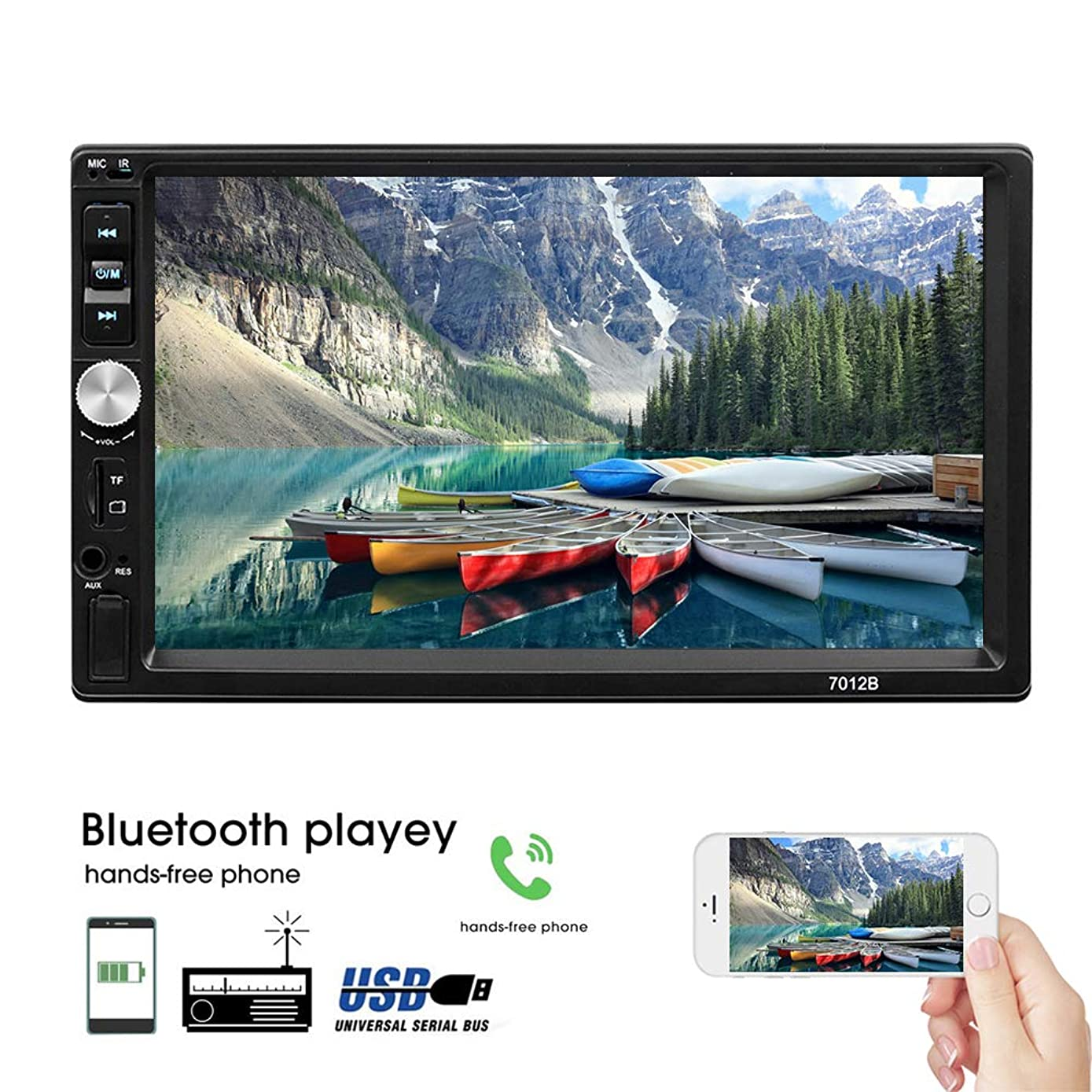 Car Stereo Multimedia Receiver Double Din 7 Inch Touchscreen LCD Monitor, Bluetooth Audio and Hands Free Calling, MP5 Player, USB Port, AUX Input, Rear View Camera,FM Radio Receiver