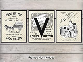 Louis Vuitton Vintage Luggage Wall Art Prints - Set of Three (8x10) Unframed Photos - Makes a Great Gift for Fashion Lovers and Home Decor