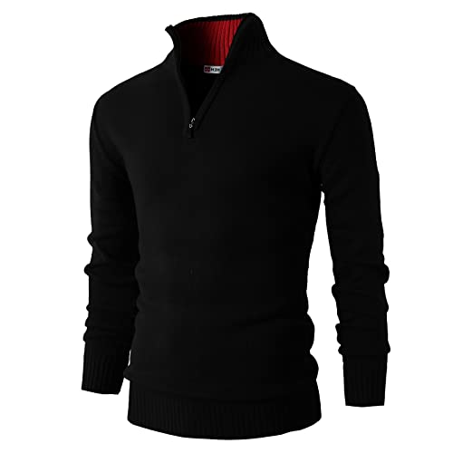 cf07ed2a41e H2H Mens Casual Slim Fit Pullover Sweaters Mock Neck Zip up Various  Patterned