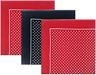Warwick & Vance Packs Of 3 Mens/Gentlemens Red & Navy Supersize Handkerchiefs With Spot/Polka Dot Print (Assorted Colours), 100% Cotton, 55 x 55cm
