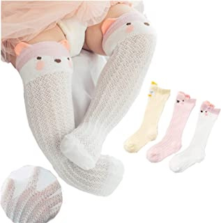Babywearoutlet 3 Pairs Newborn Baby(1-3years) Mesh Combed Cotton Long Tube Socks Cozy Cute Soft All Match Breathable Socks...