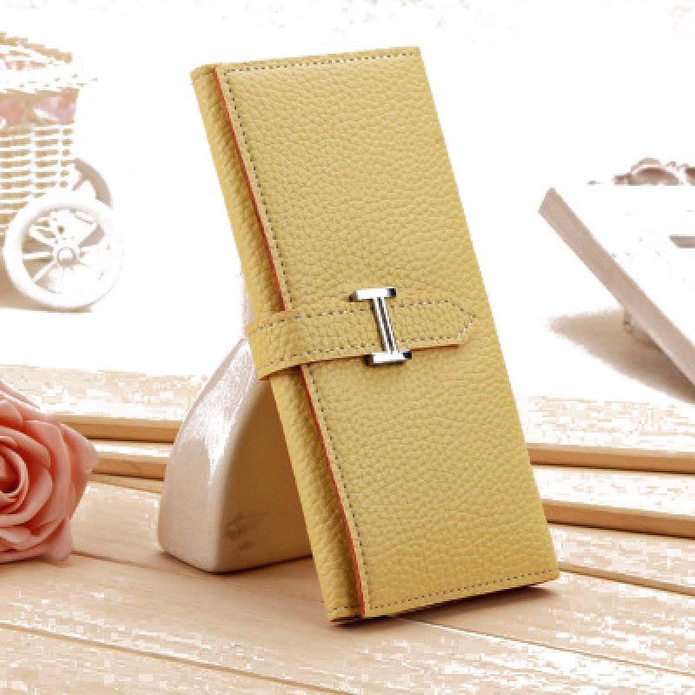 Ladies Handbag New Tri-Fold Wallet Long Purse Fashion Ms. Wallet H Buckle Clutch Women (color   A)