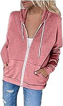 YOCIA Dames sweatjack hoodie sweatshirt capuchonjas pullover bovenstuk trui met capuchon en rits sweatshirt sportjas casua...
