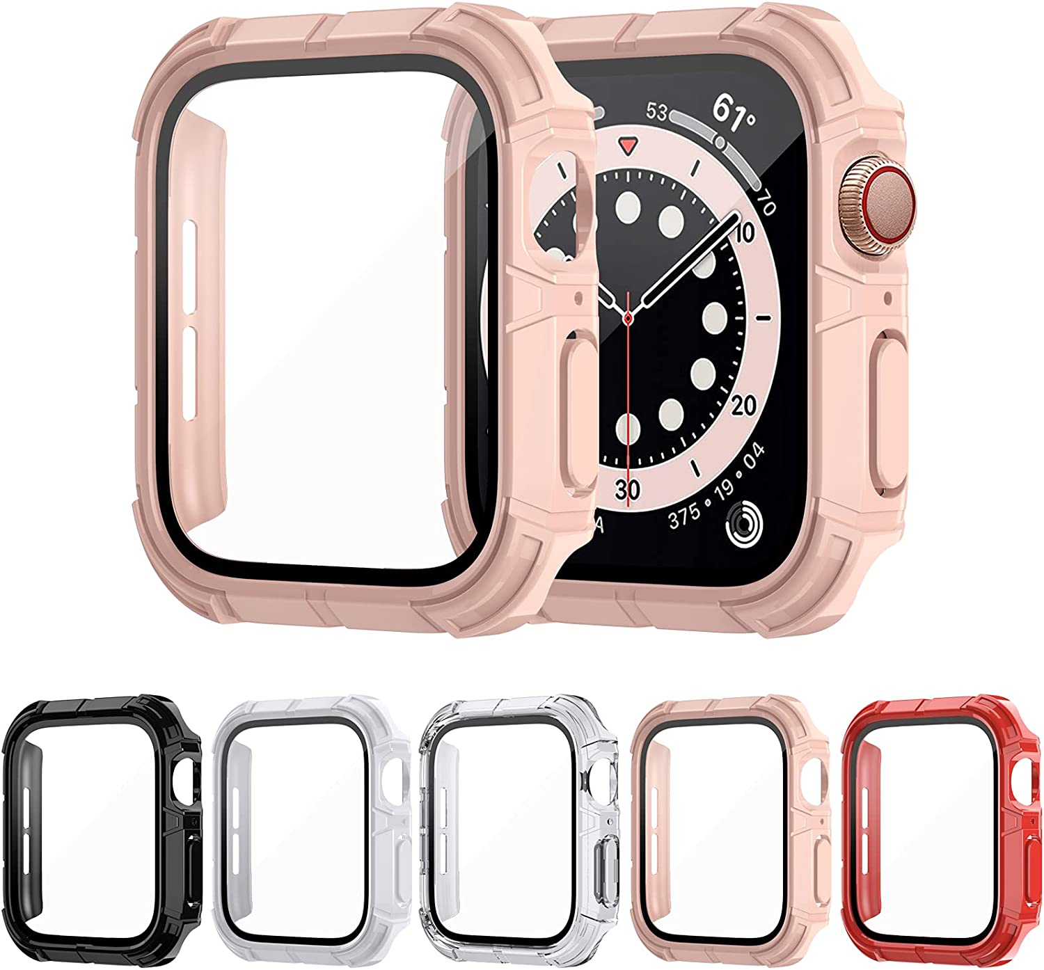 NANW 5-Pack Rugged Case Compatible with Apple Watch Series 6/5/4/SE,Hard Screen Protector PC Protective Cover with Tempered Glass, Sport Military Style Bumper Compatible with iWatch Series 6/5/4/SE
