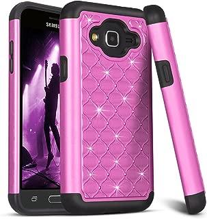Galaxy J3/Sky/Sol Case,Amp Prime Case,Express Prime Case,TILL Studded Rhinestone Crystal Bling Shock Absorbing Hybrid Defender Rugged Slim Case Cover For Samsung Galaxy J3 J320 [Purple]