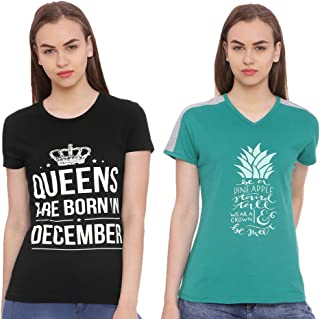 Limeberry Pack of 2 Women's Cotton Queens are Born in December Month T-Shirt (LB-QUN-DEC_N_02-V-NCK-P.GRN_Multicolor)