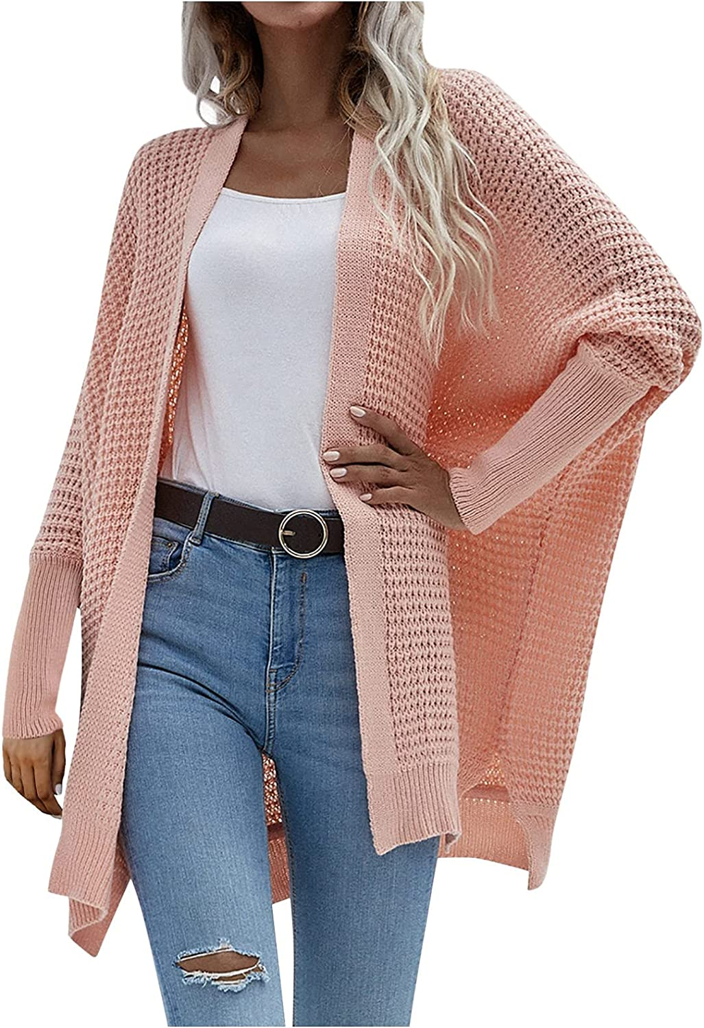 Cardigan Sweaters for Women Open Front Waffle Chunky Knit Solid Color Long Batwing Sleeve Coat with Side Split