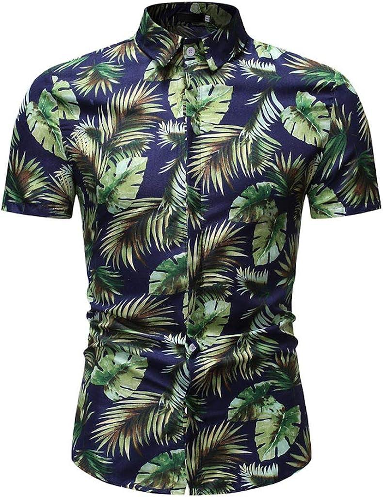 Holzkary Hawaiian Shirts for Men Beach Party Holiday Camp Casual Comfy Short Sleeve Button Down T-Shirt Tops