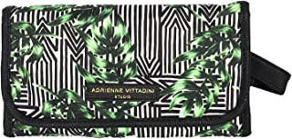 Adrienne Vittadini Striped Palm Hanging Cosmetic Organizer One Size Black/green