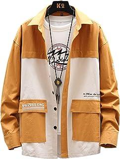 Mannen Cargo Shirt Mode Losse Kleuraanpassing Stiksels Multi-pocket Trendy Streetwear Outdoor Casual Shirt met Lange mouwen