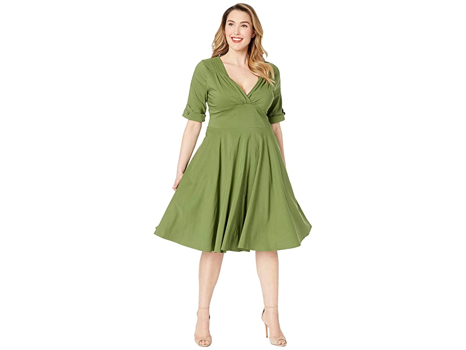 Unique Vintage Plus Size 1950s Delores Swing Dress with Sleeves (Moss Green) Women's Dress