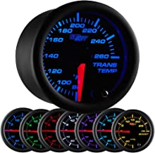 GlowShift Black 7 Color 260 F Transmission Temperature Gauge Kit - Includes Electronic Sensor - Black Dial - Clear Lens - for Car & Truck - 2-1/16