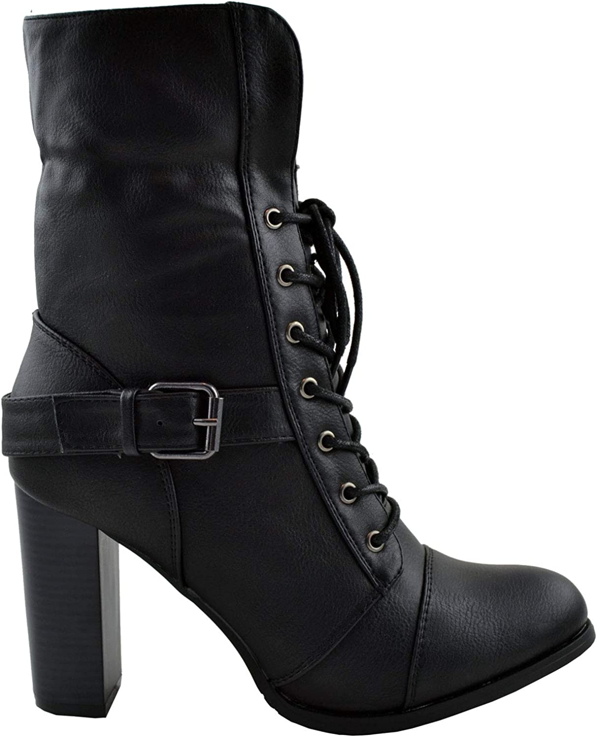 Generation Y Womens Ankle Boots Mid Calf Chunky Heels Fold Over Fleece Cuff