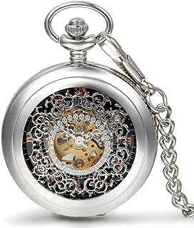 JewelryWe Montre de Poche Gousset Squelette Mécanique Manuel Rayure Fleur Ciselée Chiffre Romain Pendentif Collier Alliage...