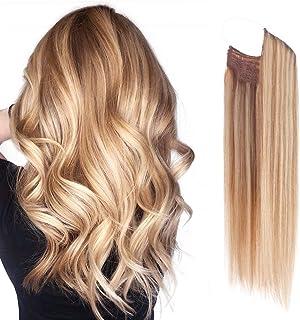 Premium Remy Human Hair Halo Hair Extensions Honey Blonde with Platinum Blonde Highlights, 16 Inch. 100 Gram