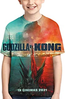 Dominic Art God-zi-lla Vs Kong Youth Short Sleeve Tops Tee Kids T-Shirt for Teen Boys and Girls