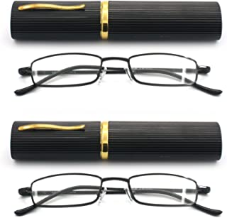 EYE ZOOM 2 Pack Ultra Slim Compact Lightweight Tube Reading Glasses with Portable Clip Aluminum Case, Black Strength +1.75