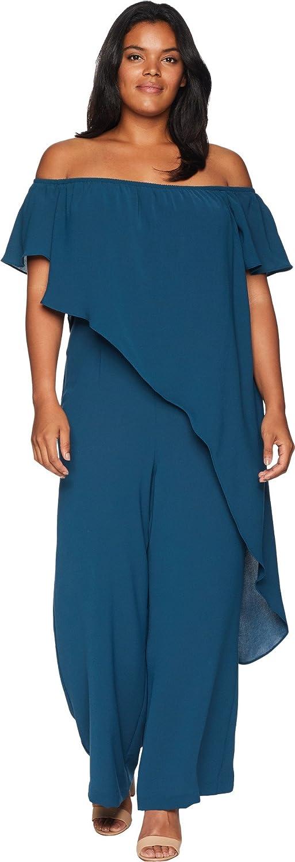 Adrianna Papell Women's Plus-Size Plus Off-The-Shoulder Draped Jumpsuit Dress, Midnight Jungle, 24W