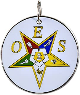 """Order of The Eastern Star White, Yellow & Silver Round Masonic Ornament - 2 1/2"""" Diameter"""
