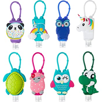 Liabebe Kids Hand Sanitizer Holder, Portable Liquid Carrier,1 oz Empty Refillable Bottle, Travel Size Keychain for Backpack, TSA complaint (8 Pack)