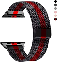 RXCOO Compatible for Apple Watch Band 38mm/40mm 42mm/44mm, Stainless Steel Mesh Wristband Loop Magnet Band Compatible with Iwatch Series 5/4/3/2/1 (Black Red, 42mm/44mm)