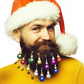 Anjou Beard Ornaments, Beard Baubles, 12pcs Colorful Christmas Facial Hair Baubles in The Holiday Spirit, Red, Green, Blue, Purple, Gold and Silver, Easy Attach Mini Mustache, Gift for Men