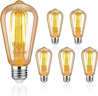 Uchorlls Bombilla de Filamento LED E27, 6W (equivalente a 60W), 700LM, Luz Cálida, No Regulable,E27 Edison Vintage Bombill...