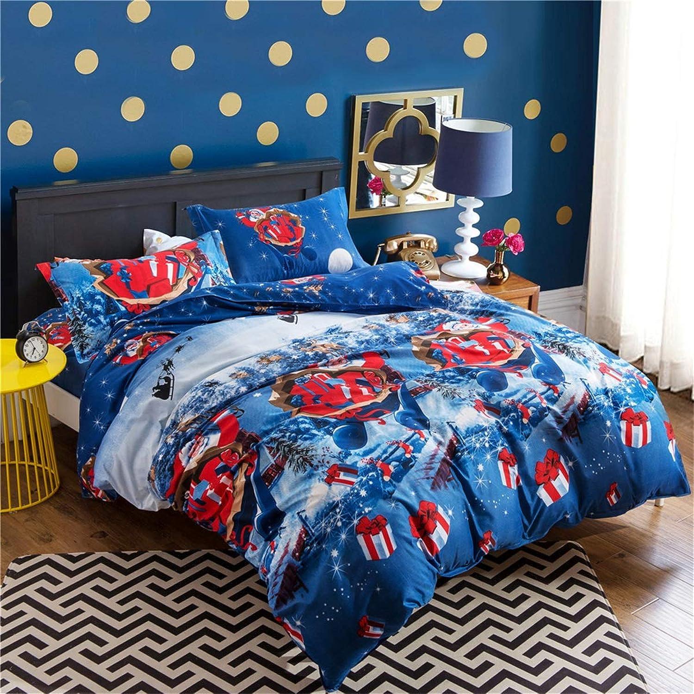 ventas directas de fábrica LongYu Azul Invierno Navidad Papá Noel arrojar edrojoón de Regalo Regalo Regalo Conjunto de Tres Conjuntos de Ropa de Cama (Talla   230×264)  suministro directo de los fabricantes