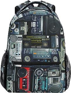 TropicalLife Vintage Radio Boombox Backpacks School Bookbag Shoulder Backpack Hiking Travel Daypack Casual Bags