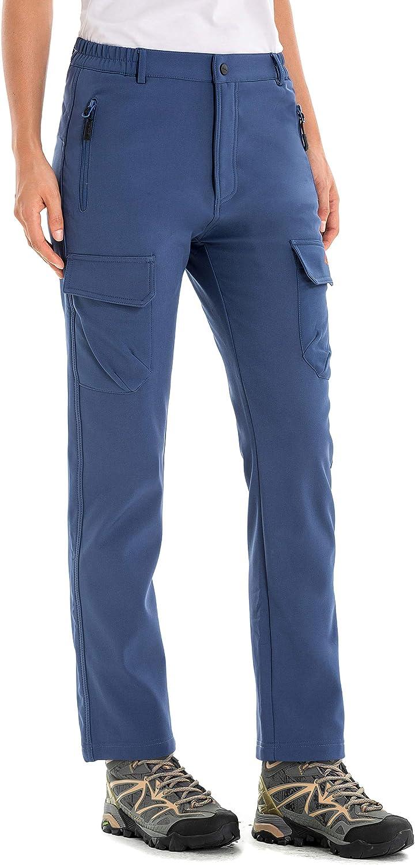 Wind-Resistant Water-Repellent U.mslady Womens Fleece-Lined Soft-Shell Cargo Pants