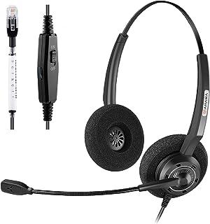 Arama Corded Office Telephone Headset with Noise Canceling Mic Headset for Polycom VVX310 VVX311 VVX410 VVX411 Avaya 1408 1416 5410 Mitel 5220e 5330e 5330 ShoreTel NEC Landline Deskphones (A200D)