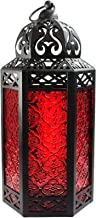 Vela Lanterns Moroccan Style Candle Lantern with LED Lights, Large, Red Glass