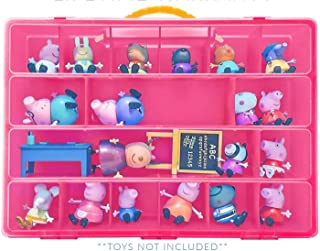 Toy Organizer with Carrying Handle, Fits Up to 40 Figures and Compatible with Peppa Pig Mini Figures, Pink