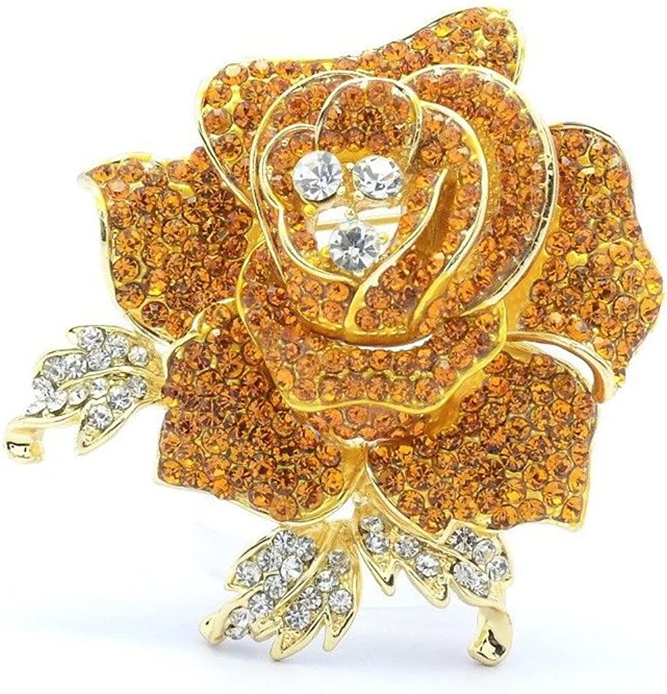 SEPBRIDALS Rose Flower Brooch Pin with Rhinestone for Women Birdal Girl Prom Jewelry