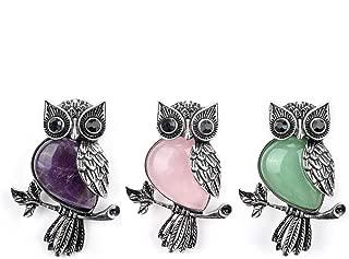 Vintage Crystal Rhinestone Natural Crystal Quartz Leaf Cute Owl Bird Brooch Lapel Pins for Women Wedding Bouquet