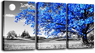 TTHWALLART Wall Art For Living Room black and white Blue tree moon Canvas Wall Decor for Home artwork huge Painting 16