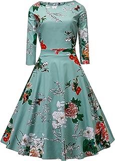 Women's Dress 3/4 Sleeve Calf-Length Retro Floral Vintage Dress Audrey Hepburn Style