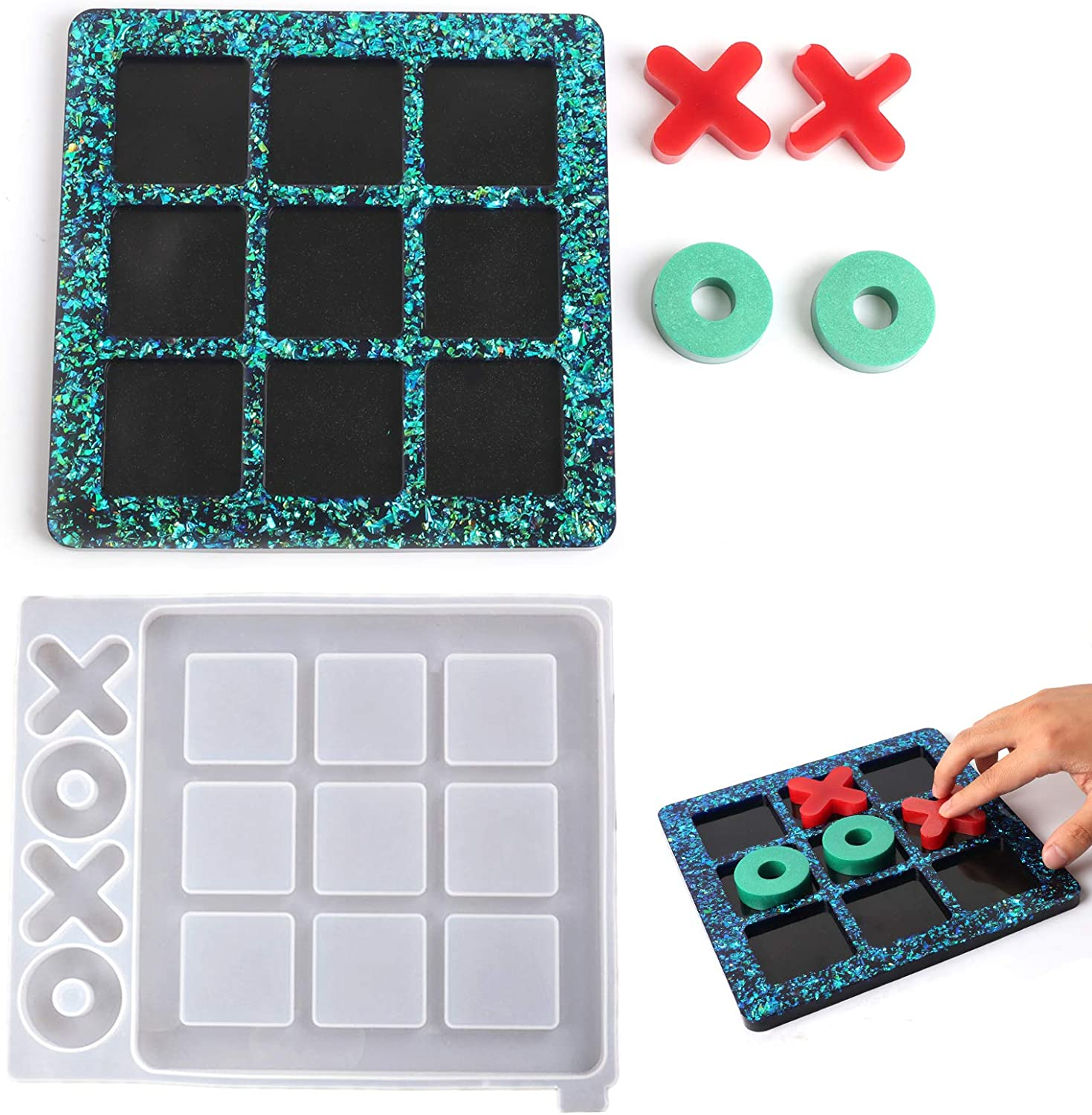 Tic-tac-Toe Resin Molds Silicone Mold Charlotte Mall Kit Making for 5 ☆ very popular Nough
