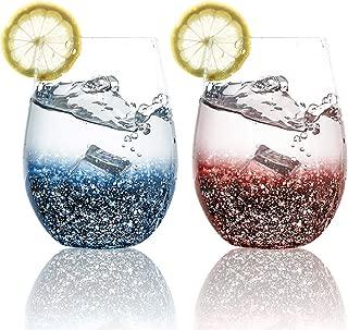PFLife グラス ペア スターリースカー タンブラー 卵形カップ 2個入り 550ml blue×red