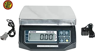 ACOM PW-200 Digital POS Interface Portion Control Scale with Most ECR's and POS Systems, Lb/Oz/Kg/g Switchable, Low Profile Design, 30lb Capacity, 0.01lb Readability, Dual Display,NTEP Legal for Trade