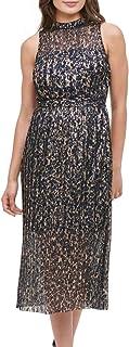 Kensie Women's Dress Gold US 12 Sheath Metallic Accordian Pleat Midi
