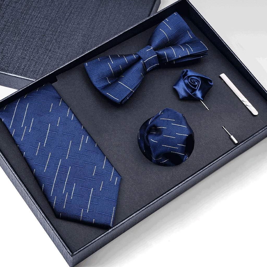 GPPZM Gift Box Packing Men Necktie Pocket Square Wedding Mens Neck Ties Silk Tie Set Cufflinks Tie Clips (Color : B)